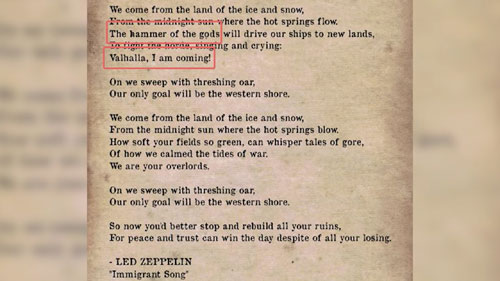 متن آهنگ Led Zeppelin Immigrant